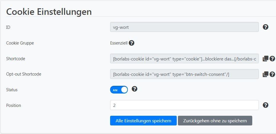 BC Cookie hinzufuegen Cookie Einstellung+Shortcode