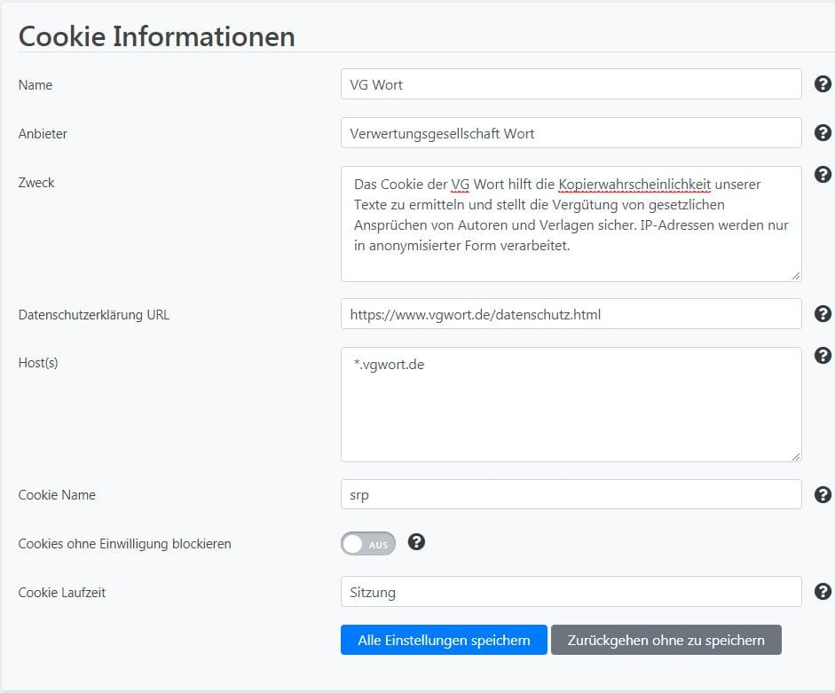 Borlabs Cookie hinzufuegen Cookie Informationen