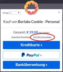 umsatzsteuer hinterlegen borlabs cookie