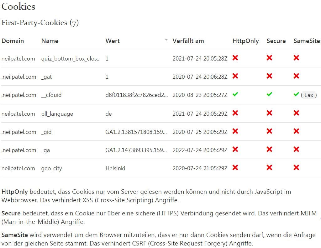 webkoll example neilpatel.com 1 Part Cookies