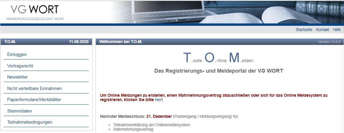 Registrierungsportal vg wort