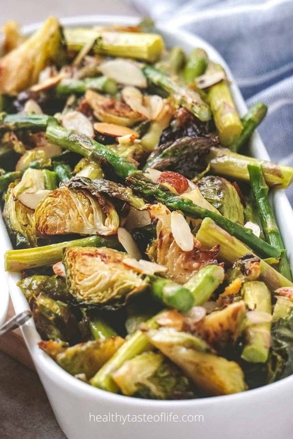 Roasted Brussels Sprouts And Asparagus With A Tangy Sauce
