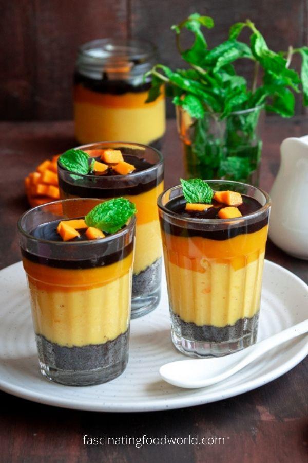 Mango and chocolate pudding trifle