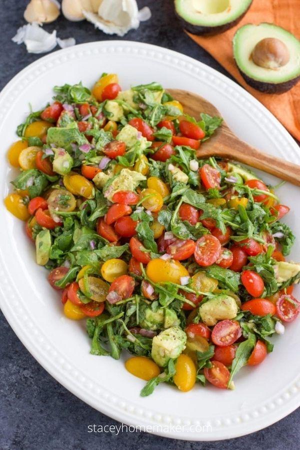 Vegan Arugula Avocado Tomato Salad