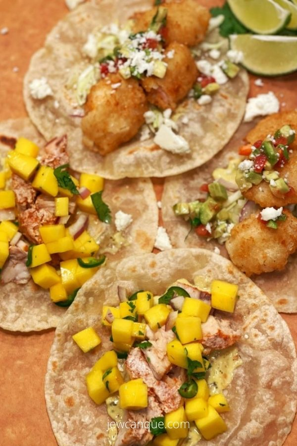 Two Seafood Tacos: Swordfish and Breaded Shrimp