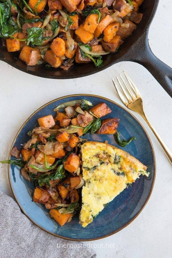 Sweet Potato Hash With Bacon and Spinach