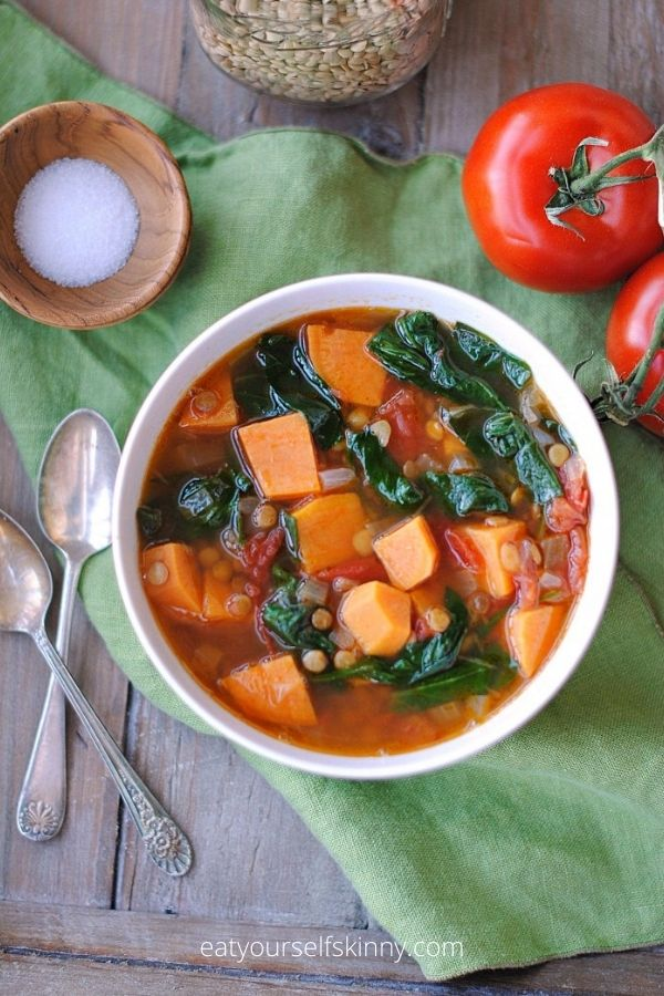 Weight Watchers Soup – Vegan Sweet Potato and Lentil Soup