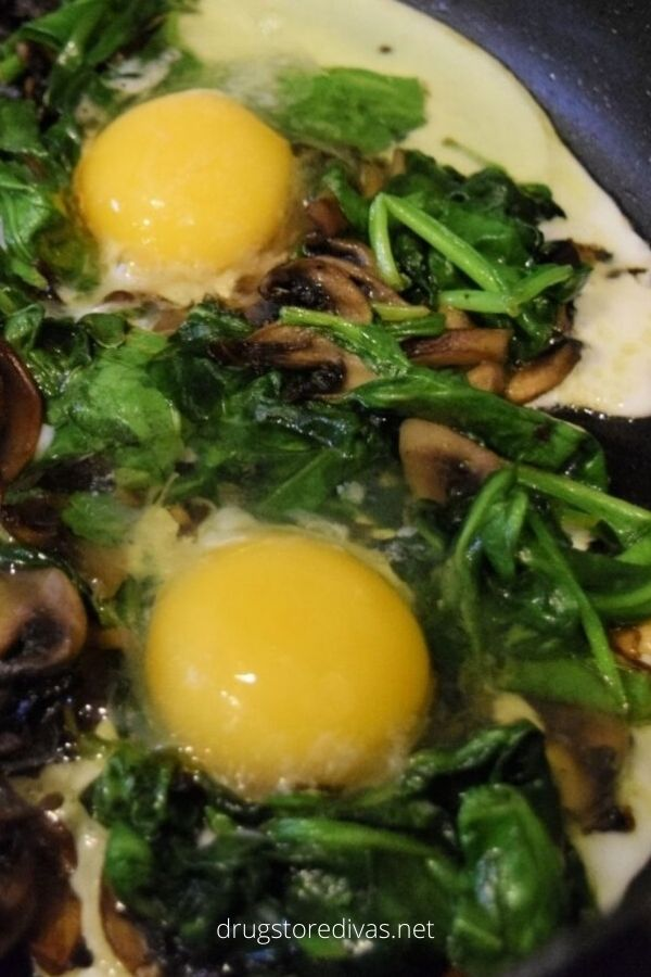 Egg In A Hole With Mushrooms And Spinach