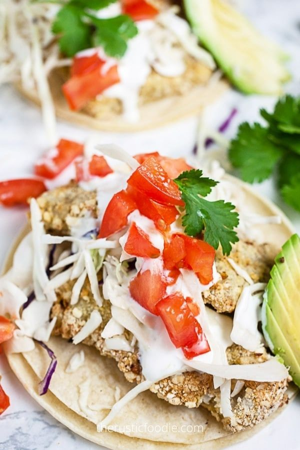 Crispy Air Fryer Fish Tacos with Lime Crema