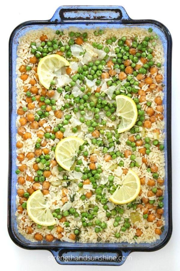 Lemon Chickpea and Rice Casserole