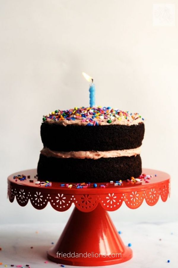 Vegan Chocolate Birthday Cake with Strawberry Buttercream Frosting