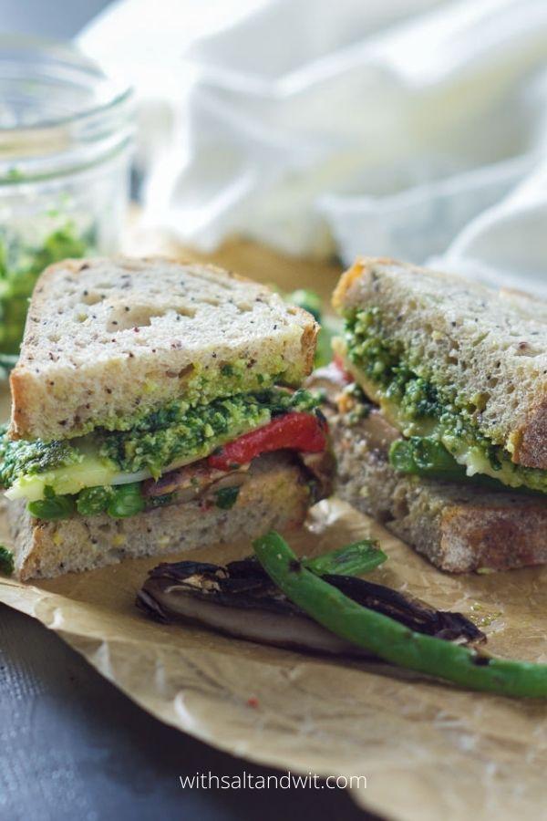 Farmers market roasted vegetable sandwich with skinny pesto