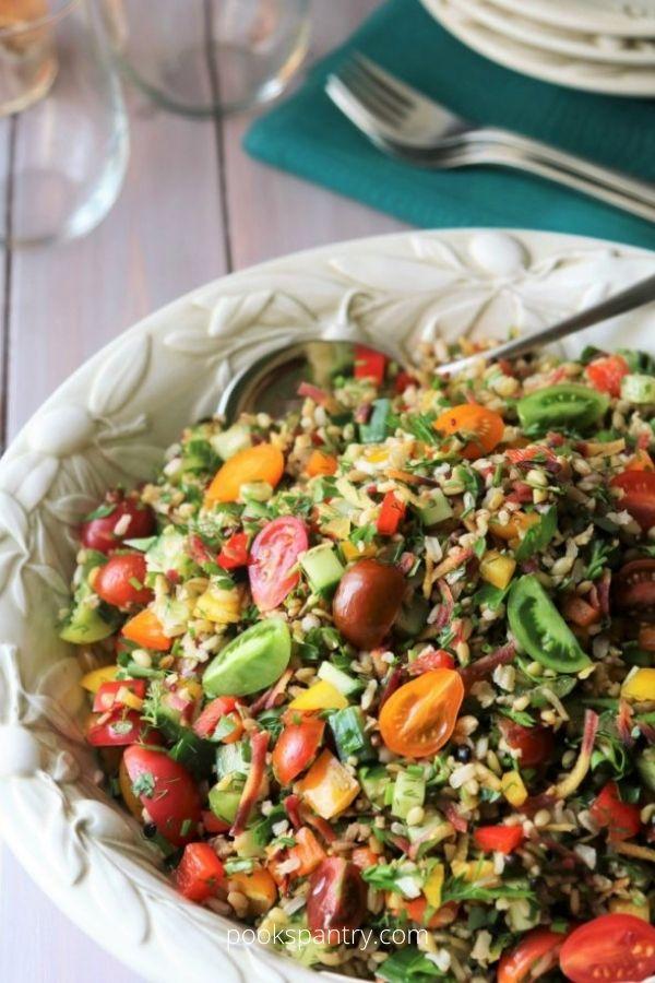 Summer Grain Salad With Rainbow Carrots, Heirloom Tomatoes And Herbs