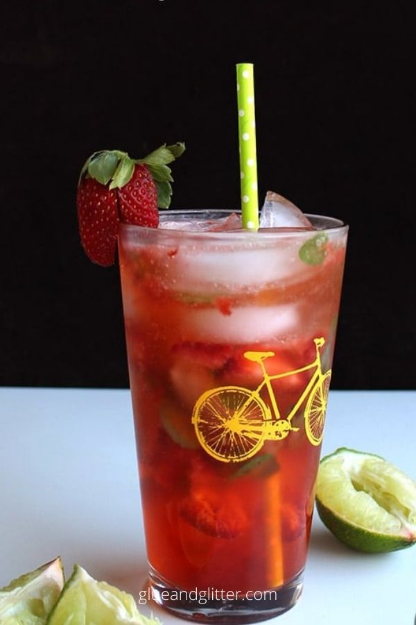 Sparkling Strawberry Agua Fresca with a hint of Mint