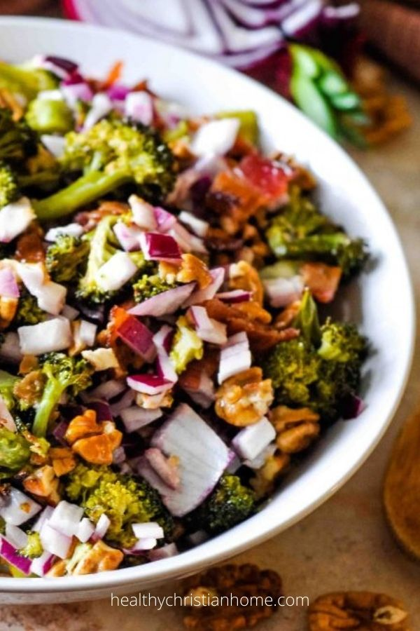 Roasted Broccoli Salad with Bacon & Pecans