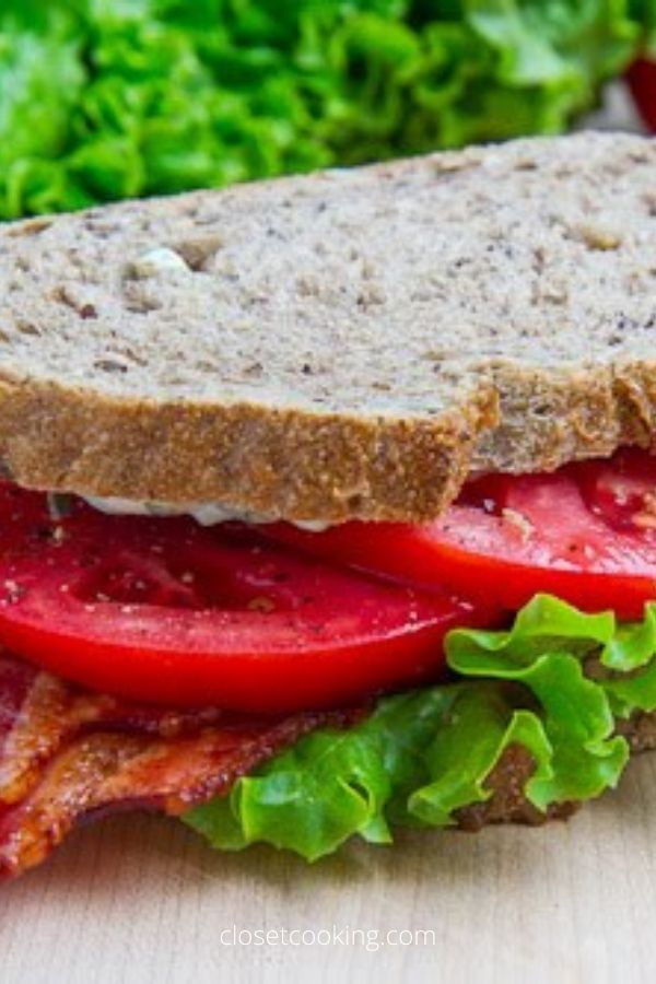Bacon Lettuce and Tomato Sandwich with Basil Mayo