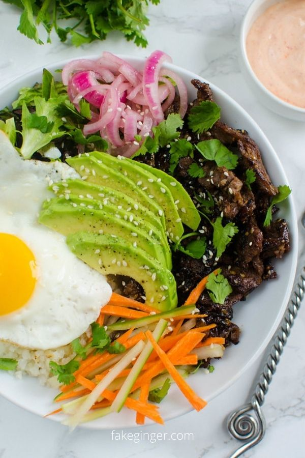 Korean Beef Cauliflower Rice Bowls