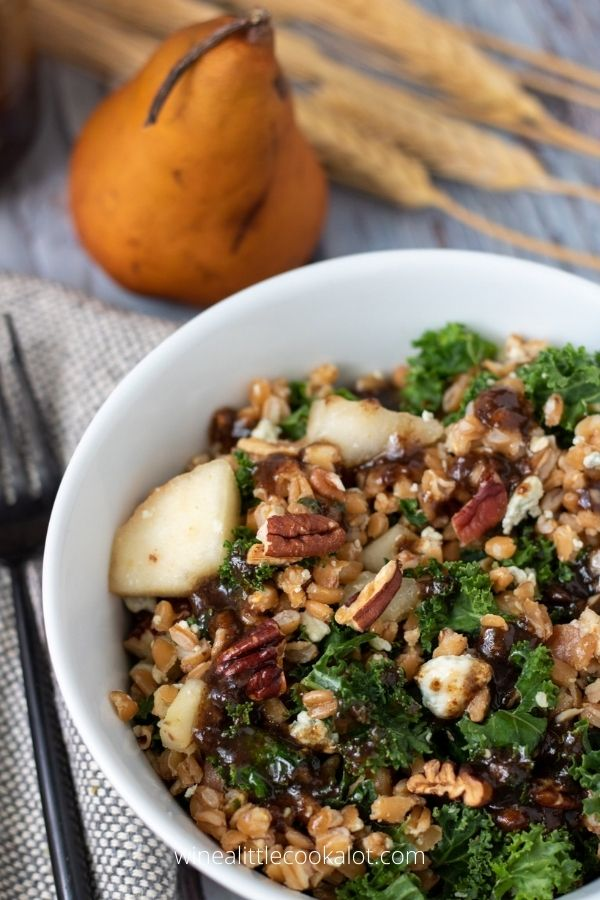 Warm farro and kale salad