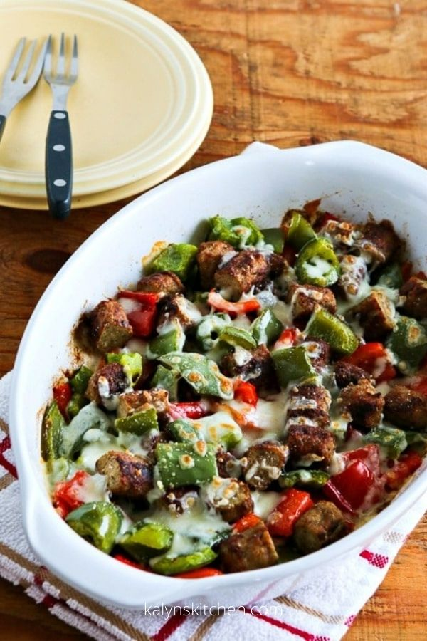 Low-Carb No Egg Breakfast Bake with Sausage and Peppers