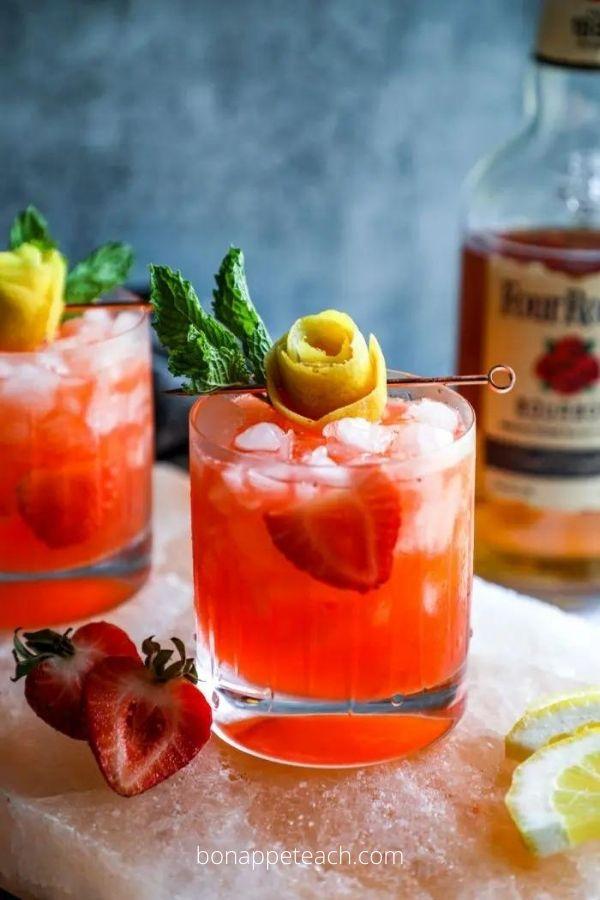 Strawberry Lemonade Keto Whiskey Smash