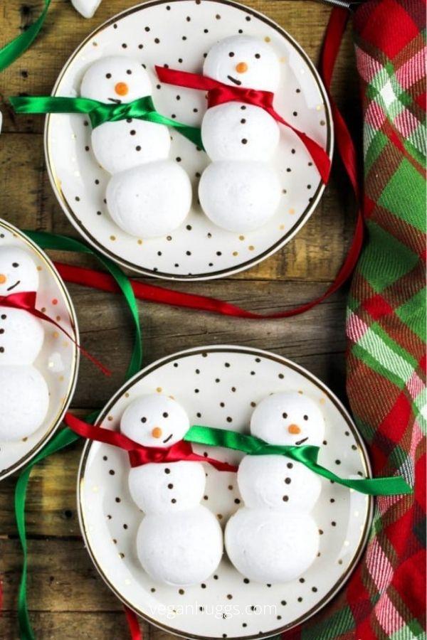 Snowmen Meringue Cookies (Vegan)