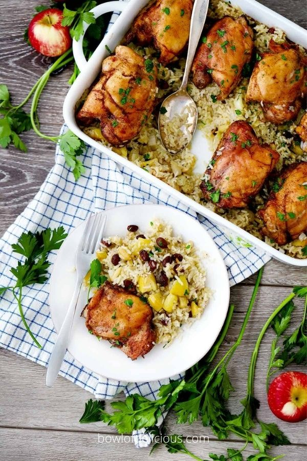 Spiced Chicken and Rice with Apples and Raisins