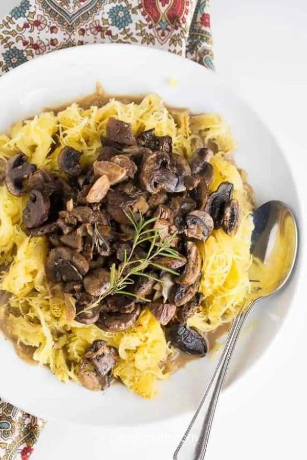 Spaghetti Squash with Roasted Mushroom and Garlic Sauce