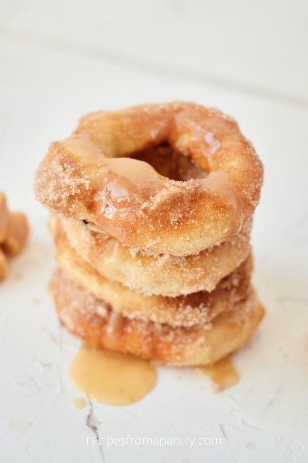 Air Fryer Stuffed Caramel Apple Donuts