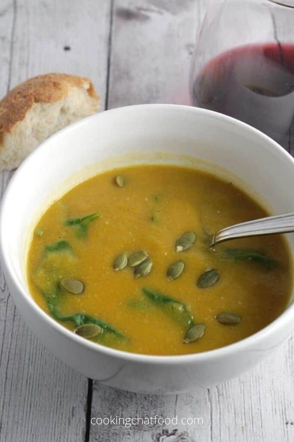 Vegan Creamy Butternut Squash Soup with Spinach