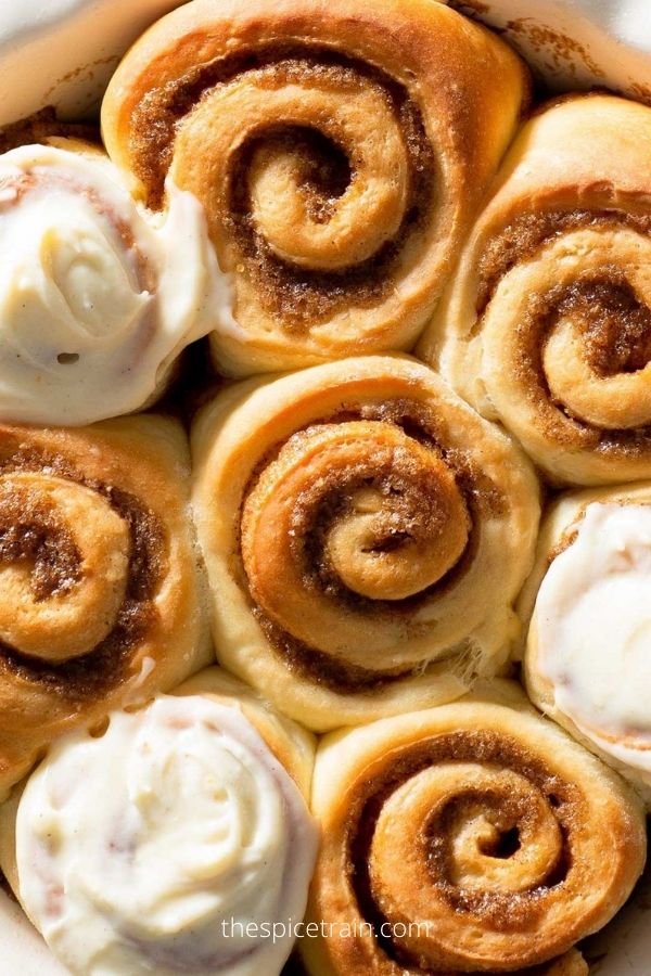 No-Knead Cinnamon Rolls with Apricot Cardamom Cream Cheese Frosting