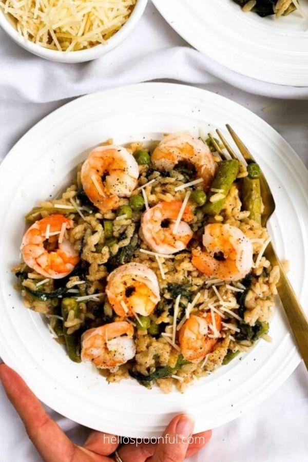 20 Minute Risotto with Asparagus, Peas, Spinach and Shrimp