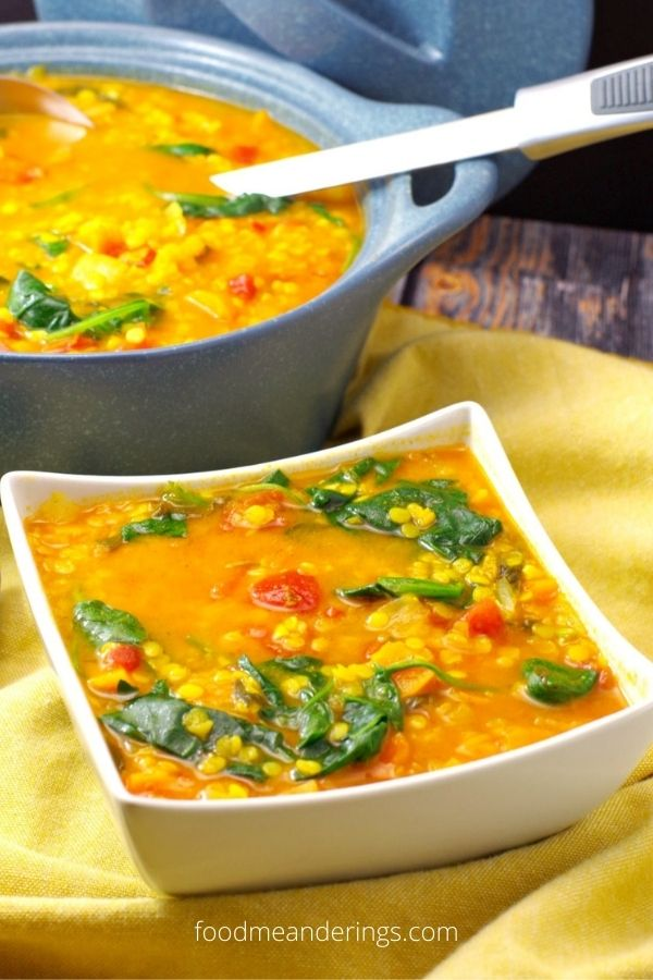 Red Lentil Spinach Soup – Weight Watchers Friendly